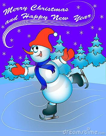 Snow man on skates with congratulations