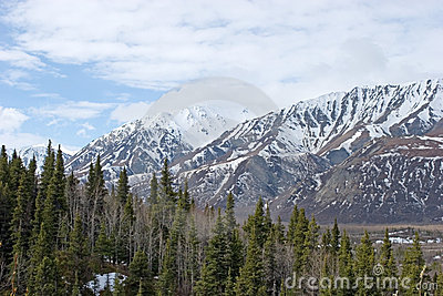 Snow melting on Alaska Range