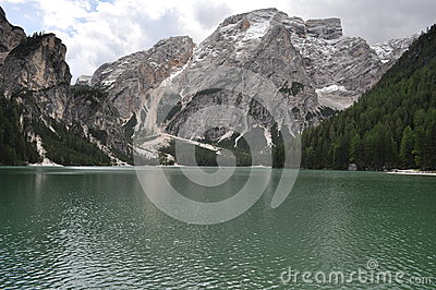 Snow montain lake