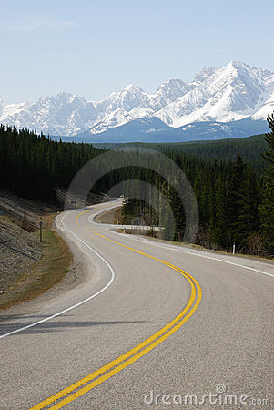 Free Snow Mountain And Winding Road Stock Images - 5230094
