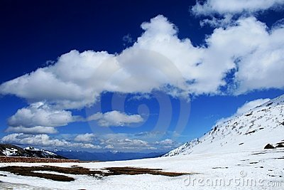 Snow mountain ,blue sky and  white cloud