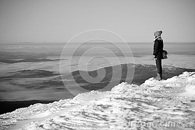 Snow mountain hiker Editorial Stock Image