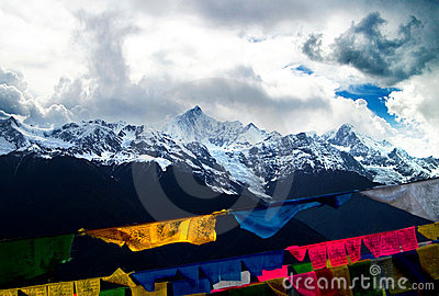 Snow mountain and prayer flag