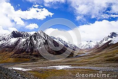 Snow mountain under blue sky 2