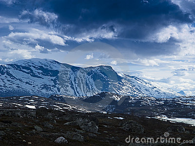 Snow mountainous landscape
