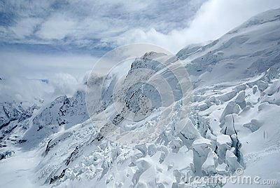 Snow mountains in cloudy weather