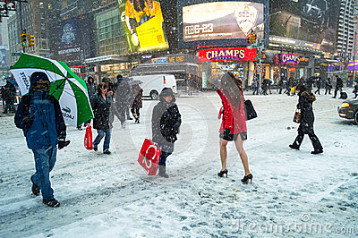 Snow on 42nd St Editorial Photo