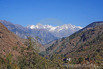 SNow peaked scenic in  Indian himalayan Mountains