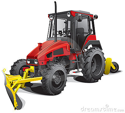 Snow plow tractor