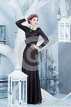 Free Snow Queen, December. Elegant Woman In Long Dress. Winter Royalty Free Stock Photo - 48161745