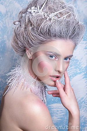 Free Snow Queen.Fantasy Girl Portrait. Winter Fairy Portrait.Young Woman With Creative Silver Artistic Make-up. Winter Portrait. Royalty Free Stock Photo - 80703045