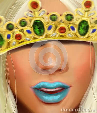 Free Snow Queen With A Crown With Diamonds Rubies And Sapphires In The Style Of Oil Painting Royalty Free Stock Image - 104353376