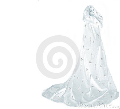 Snow queen woman on white
