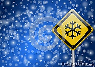 Snow - road sign