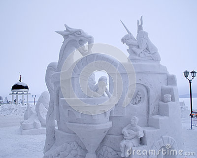 Snow Sculpture Contest to Hyperborea in Petrozavodsk