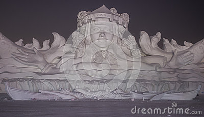 Snow Sculptures at the Harbin Ice and Snow Festival in Harbin China Editorial Stock Photo