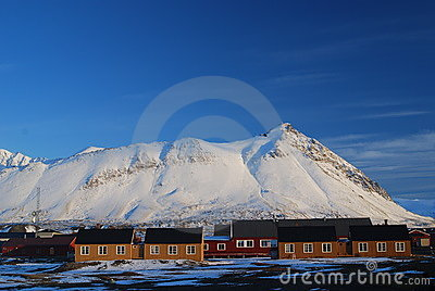 Snow and sea in svalbard islands