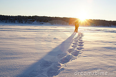 Snow Shoeing into the Sunset