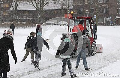 Snow shovel machine on ice rink Editorial Image