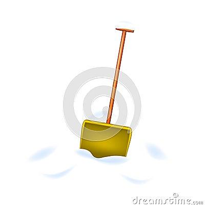 Snow shovel standing in snow