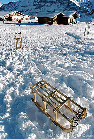 Snow and sledges Stock Photo