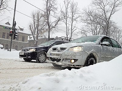 Snow slowing traffic Editorial Photography