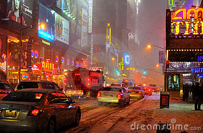 Snow storm on 42 street, new york city Editorial Image