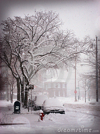 Snow Storm in the City Editorial Stock Image