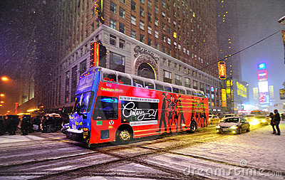 Snow storm in times square, new york city Editorial Photo