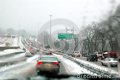 Snow storm traffic