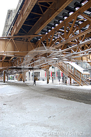 Snow on the Streets of Chicago after Major Storm Editorial Photography
