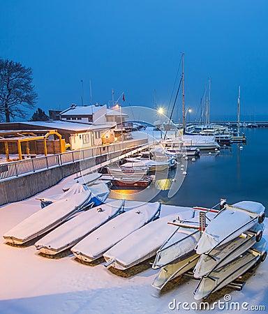 Snow in a Swiss Marina II