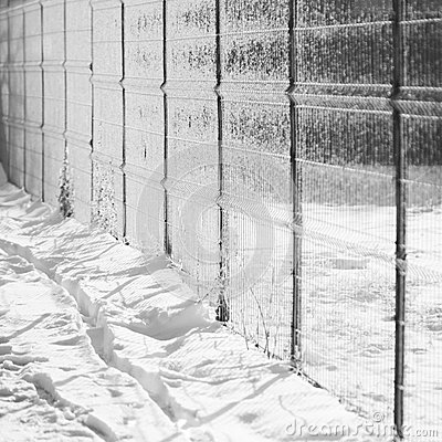 Snow texture with shadows - stripes from a fence