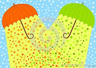 Snow umbrellas sunlight greeting card