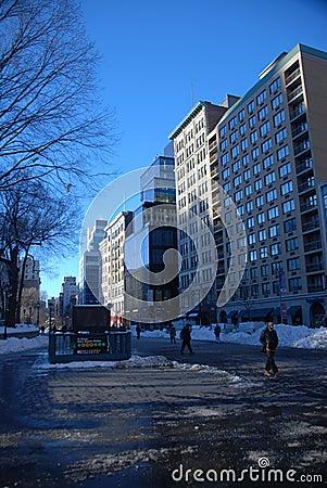 Snow on Union square park Editorial Photo