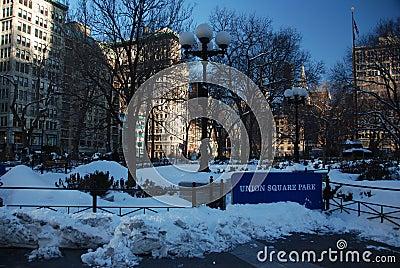 Snow on Union square park Editorial Stock Photo
