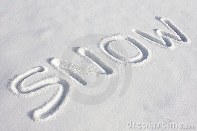 SNOW Written In A Snowy Field