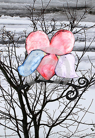Snowbirds mixed media art