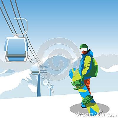Free Snowboard And Ski Resort Theme Illustration. Stock Image - 78879291