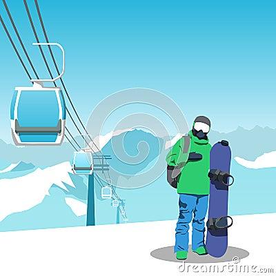 Free Snowboard And Ski Resort Theme Illustration. Royalty Free Stock Photo - 78879295