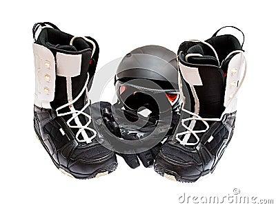 Snowboard boots, helmet, gloves, glasses
