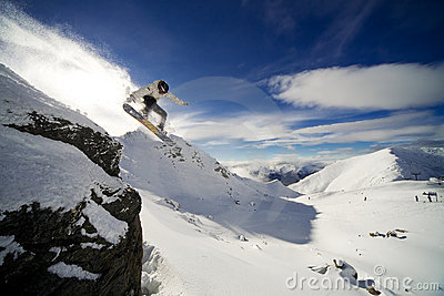 Snowboard cliff drop