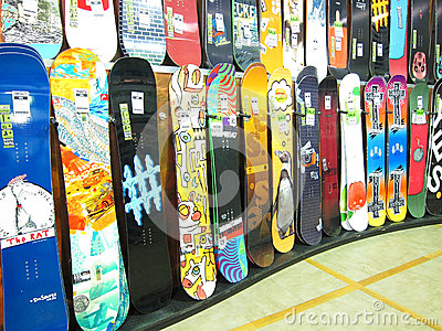 Snowboard display in a store. Editorial Stock Image