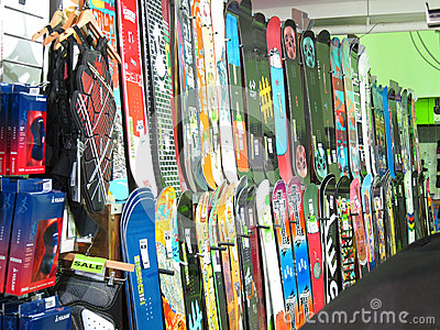 Snowboard display in a store. Editorial Photo