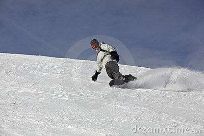 Snowboard Drift On A Snowy Blue Background