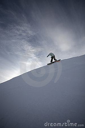 Snowboard freeride in high mountains