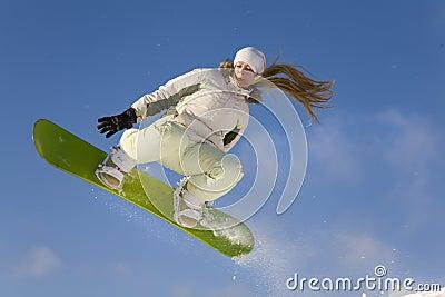 Snowboard girl jump