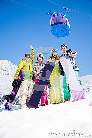 Free Snowboard Mates On Ski Resort Stock Photo - 32911210