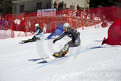 Snowboard parallel giant slalom Editorial Image