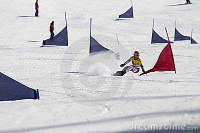 Snowboard parallel giant slalom Editorial Stock Photo